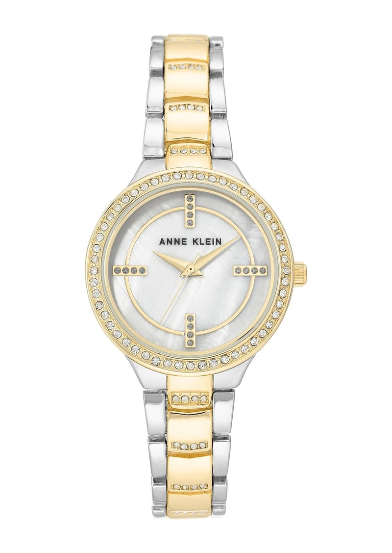 Anne Klein Women's Two-Tone Crystal Bracelet Watch, 32.5mm