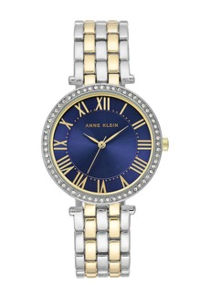 Anne Klein Women's Two-Tone Crystal Bracelet Watch, 34mm