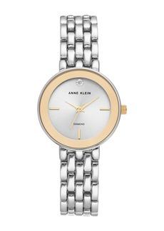 Anne Klein Women's Two-Tone Diamond Dial Bracelet Watch, 30mm