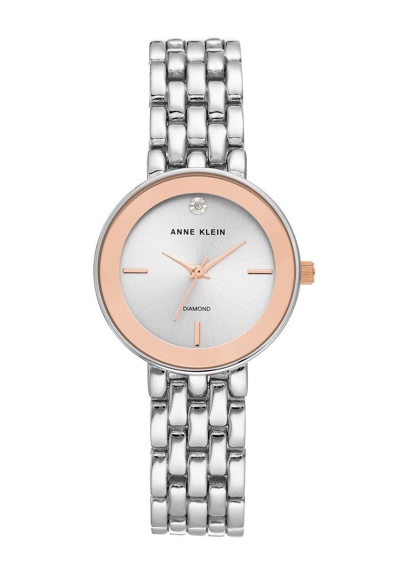 Anne Klein Women's Two-Tone Diamond Dial Bracelet Watch, 30mm