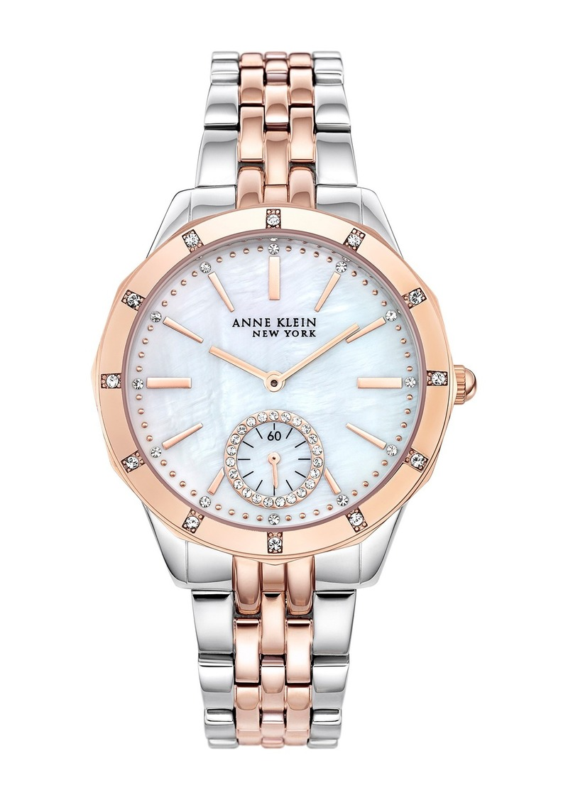 Anne Klein Women's Two-Tone Swarovski Crystal Bracelet Watch, 38mm