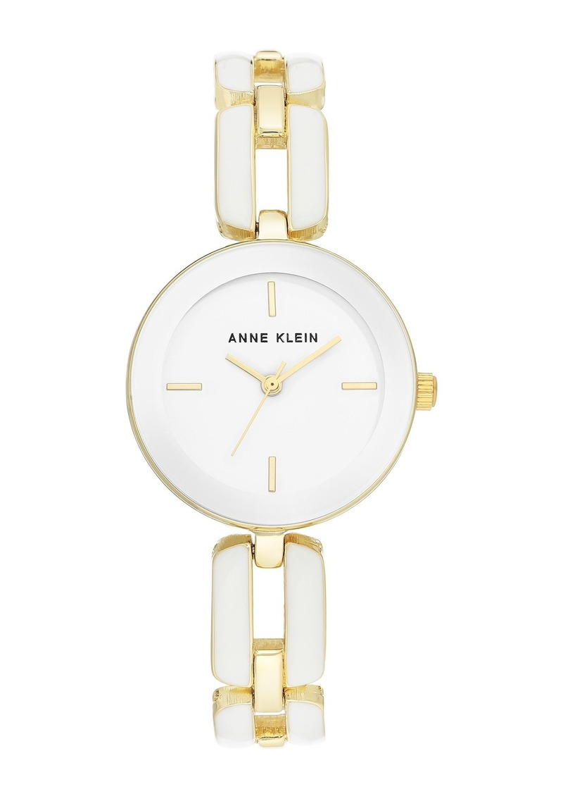 Anne Klein Women's White & Goldtone Trend Open Link Bracelet Watch, 30mm