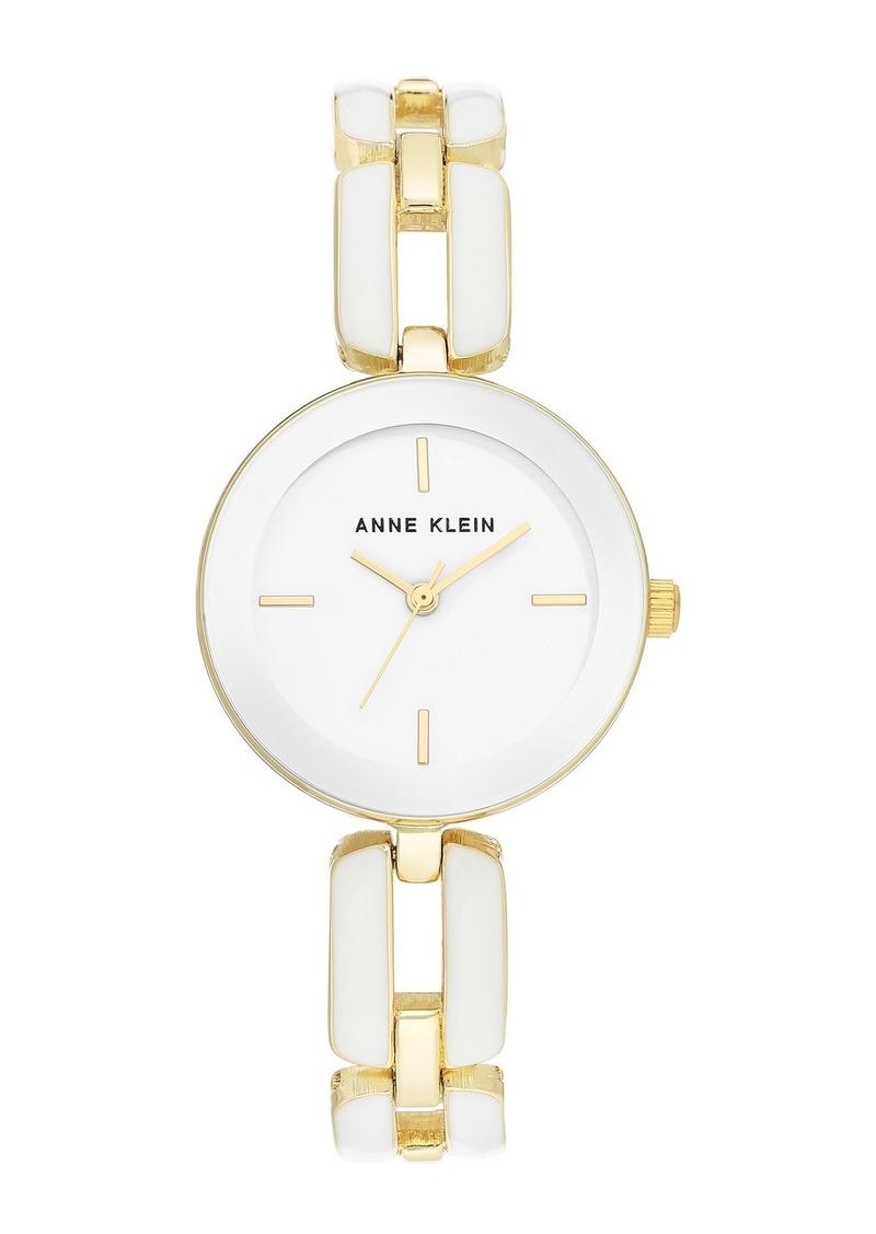 Anne Klein Women's White & Goldtone Trend Open Link Bracelet Watch, 30mm
