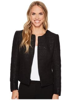 Anne Klein Zip Front Collarless Tweed Jacket