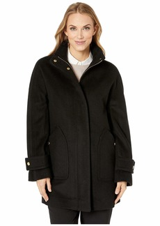 Anne Klein Zip Front Wool Coat with Snaps