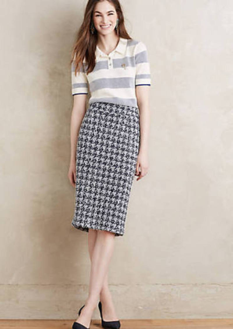 Anthropologie                          Checkered Knit Pencil Skirt
