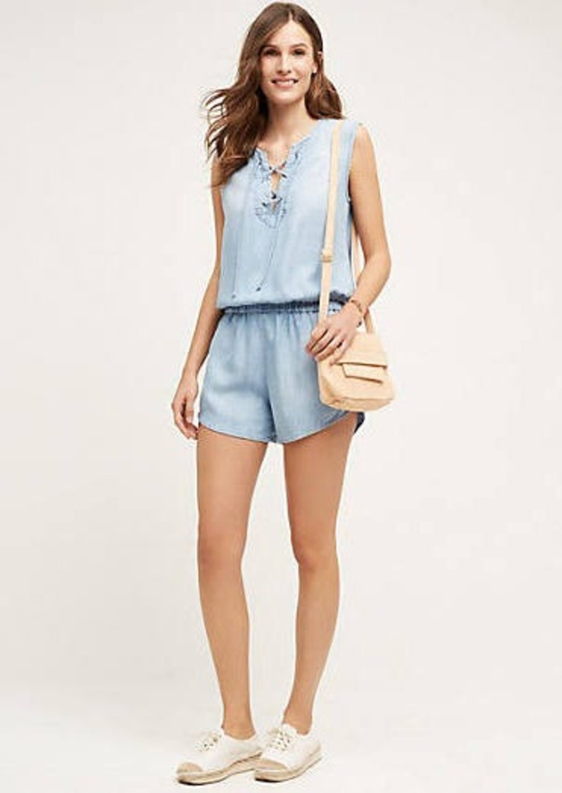 Anthropologie                          Lace-Up Chambray Romper