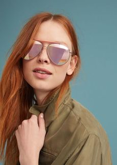 Anthropologie Ambered Rose Aviator Sunglasses