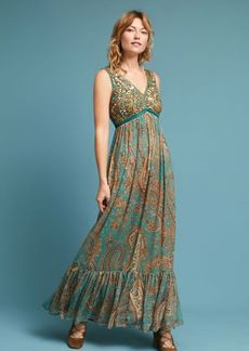 Anthropologie Beaded Paisley Maxi Dress