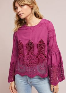 Anthropologie Bell-Sleeve Lace Pullover