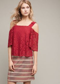 Anthropologie Bowed Lace Top