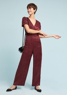 Burgundy Striped Jumpsuit