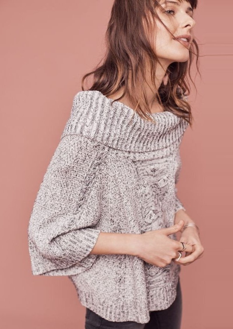 Anthropologie Cabled Cowl Pullover