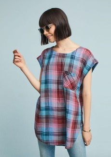 Anthropologie Cap-Sleeve Plaid Tunic