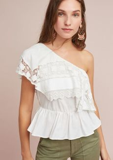 Anthropologie Ceri One-Shoulder Lace Top