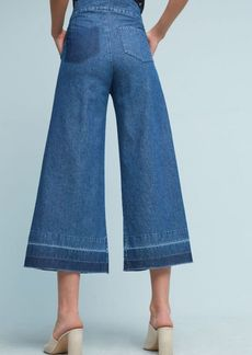 Colorblock Hem Cropped Wide-Leg Jeans