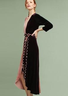 Colorblock Velvet Wrap Maxi Dress
