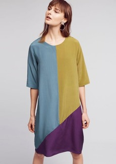Colorblocked Silk Dress