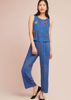 Anthropologie Critter Embroidered Jumpsuit