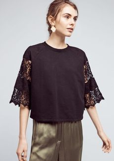 Anthropologie Cropped Lace Sweatshirt