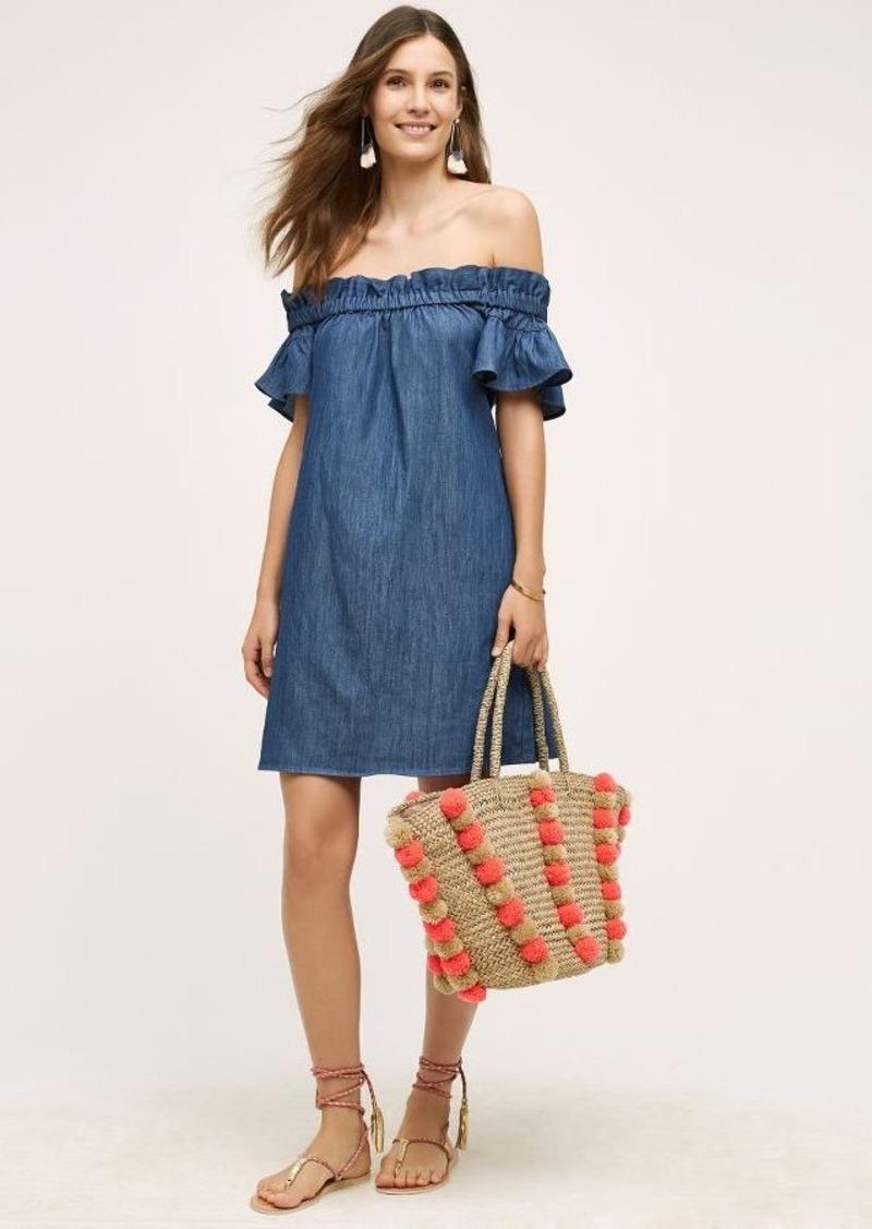 Anthropologie Denim Off-The-Shoulder Dress