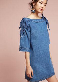 Denim Open-Shoulder Shift Dress
