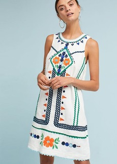 Embellished Linen Shift Dress