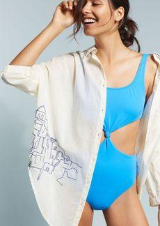 Anthropologie Embroidered Beach Shirt
