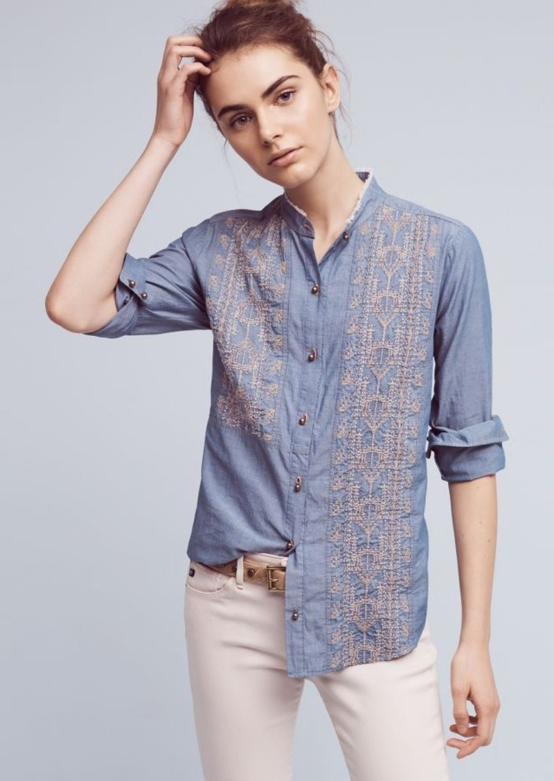 Anthropologie Embroidered Chambray Buttondown
