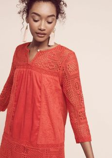 Anthropologie Embroidered Crochet Tunic Dress