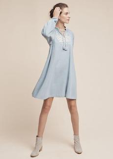 Anthropologie Embroidered Denim Mini Dress