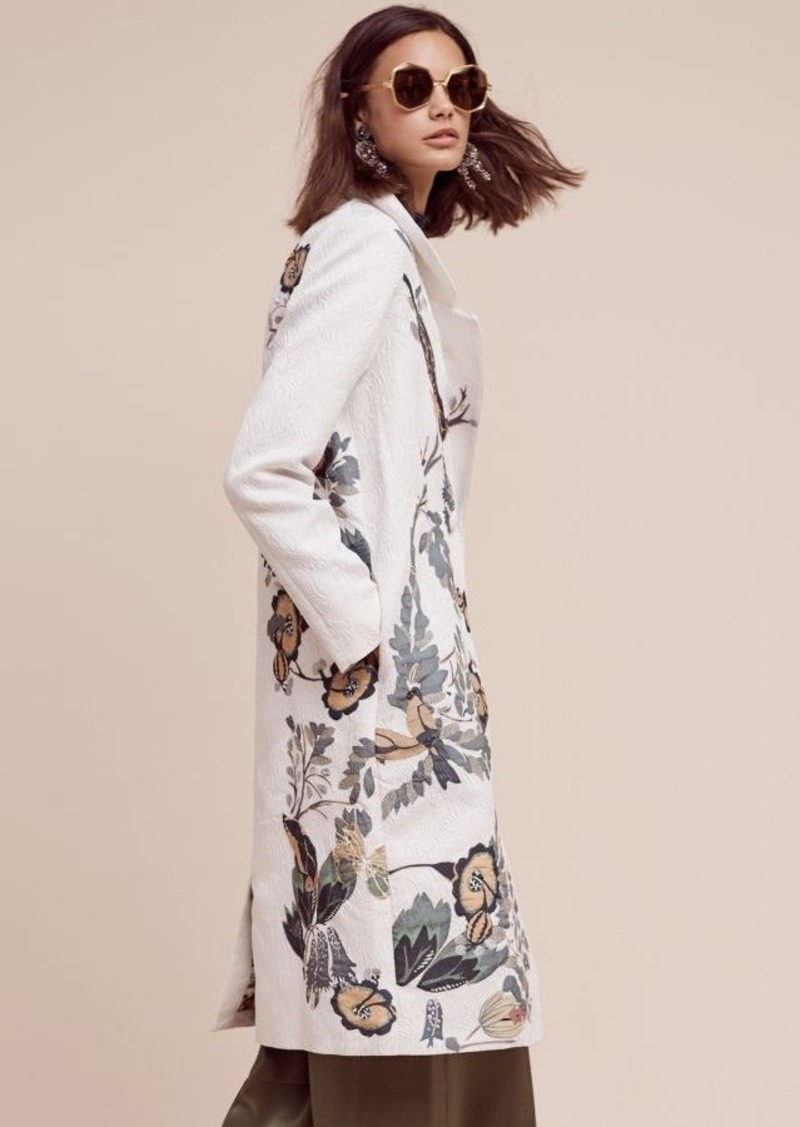 Anthropologie Embroidered Foliage Coat