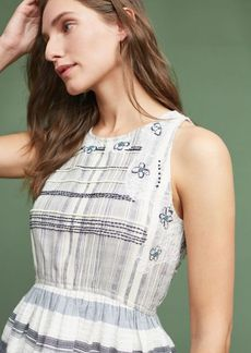 Anthropologie Embroidered Jacquard Peplum Top