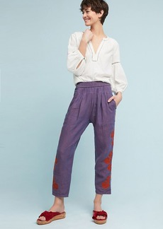 Embroidered Linen Pants