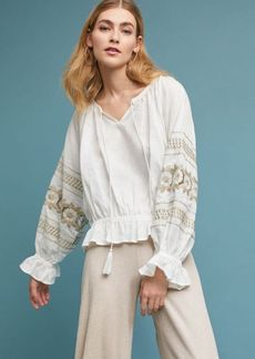 Embroidered Linen Peasant Top