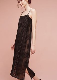 Anthropologie Embroidered Luna Slip Dress