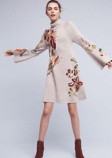 Anthropologie Embroidered Petals Swing Dress