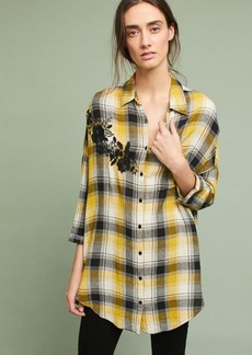 Anthropologie Embroidered Plaid Buttondown