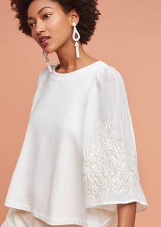 Anthropologie Embroidered Poncho Pullover