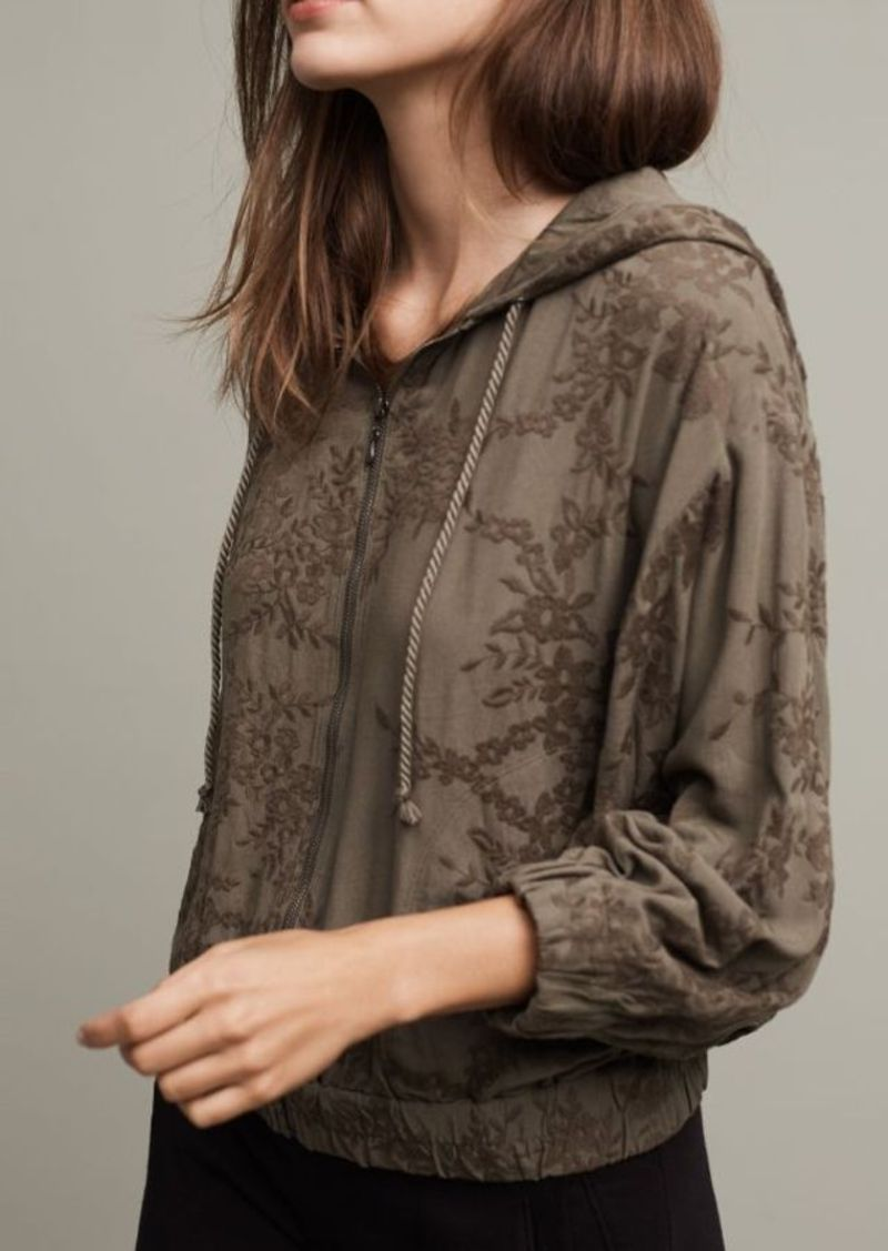 Anthropologie Embroidered Zip-Up Hoodie