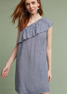 Emmeline One-Shoulder Gingham Tunic Dress