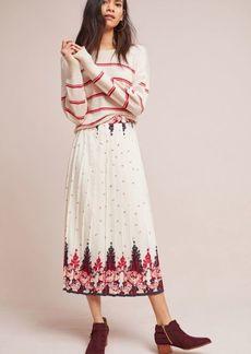 Anthropologie Esme Pleated Midi Skirt