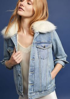 Faux Fur-Trimmed Denim Jacket