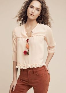Anthropologie Faye Tasseled Blouse