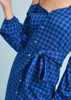 Flannel Open-Shoulder Shirtdress