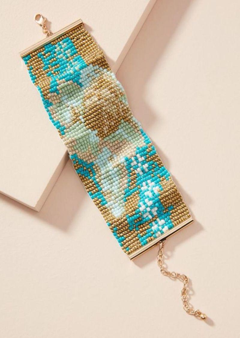 Anthropologie Fl Beaded Cuff Bracelet