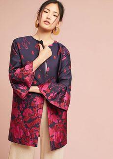 Floral Flutter-Sleeve Coat