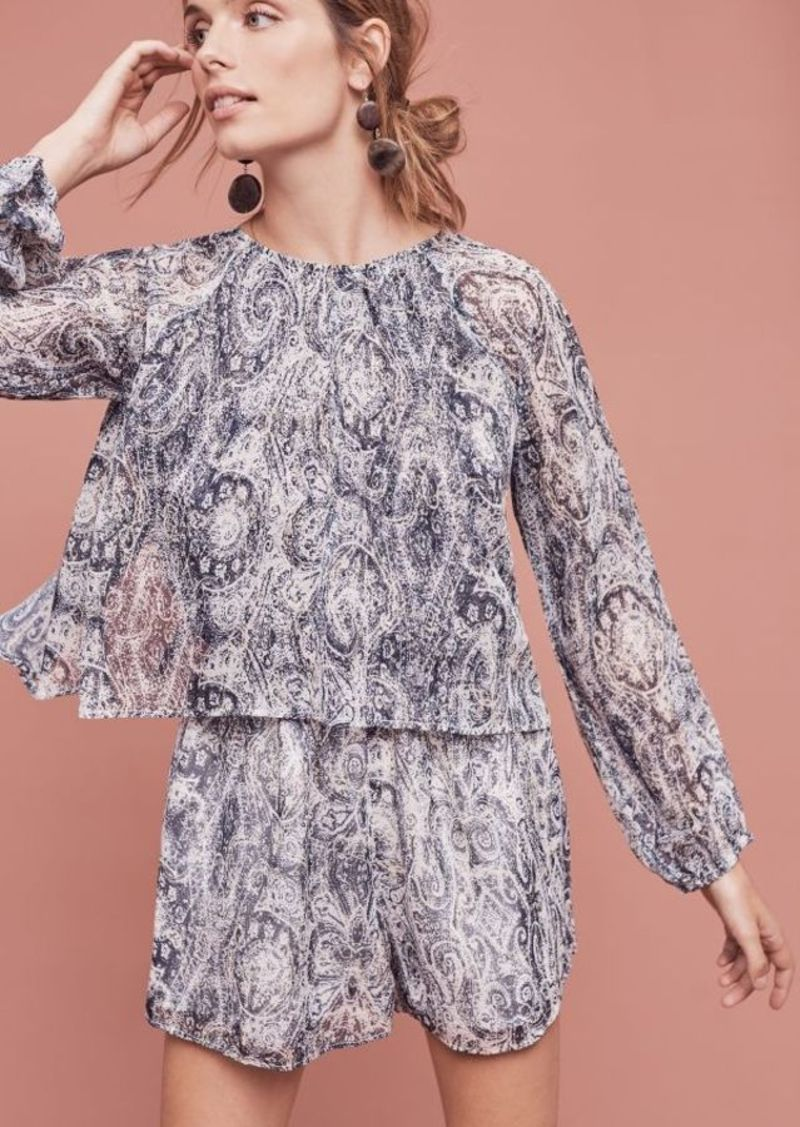 Anthropologie Flounced Paisley Romper