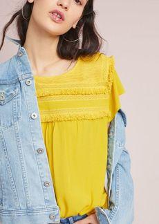 Anthropologie Fringed Linen Pullover