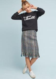 Anthropologie Fringed Tweed Pencil Skirt